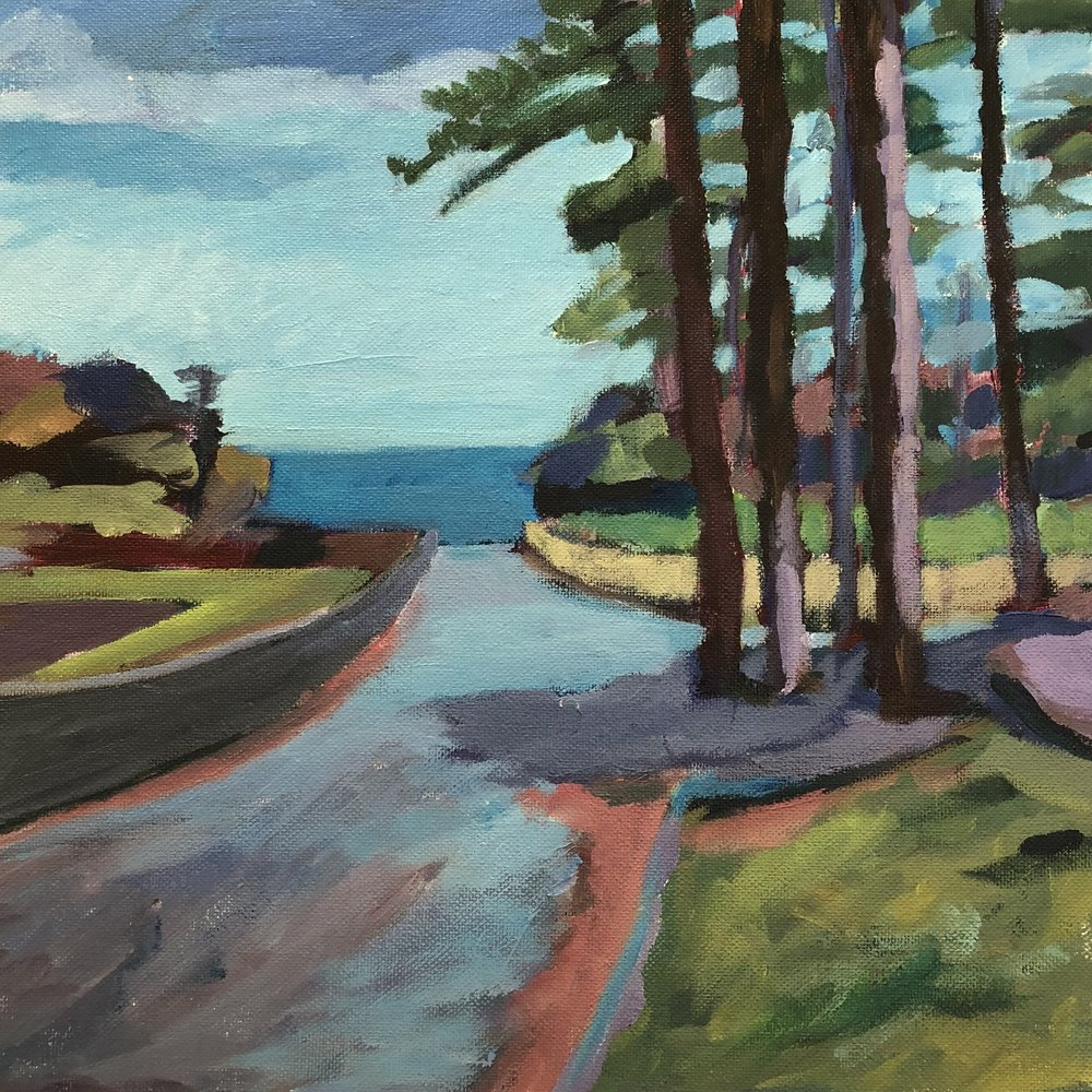 Andrew Finnie   The Road Through Edward's Park  2017  acrylic on canvas 30 x 30cm $450.00