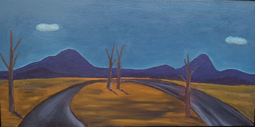 Malcolm Sands  Beyond Bylong 2018  oil on canvas  30.5 x 60.9cm canvas size 33.8 x 64.2cm frame size  $550.00
