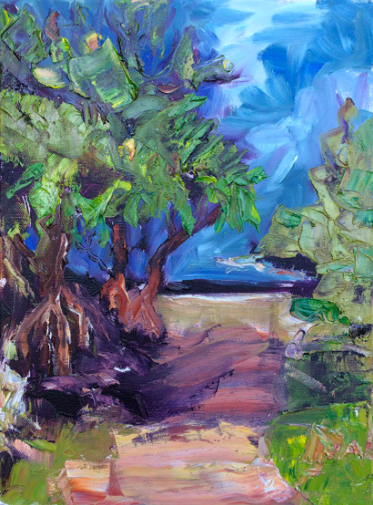 Sally Reynolds  Path to the Beach, Angourie – Study 2017 Oil on canvas  34 x 44cm inc frame  $550.00