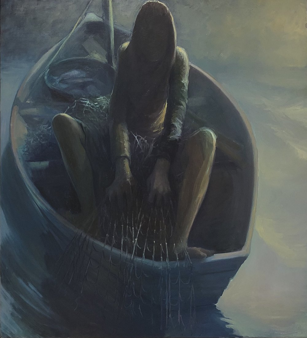 The lady in the boat  2018 oil on canvas 120 x 110cm inc frame PRIVATE COLLECTION