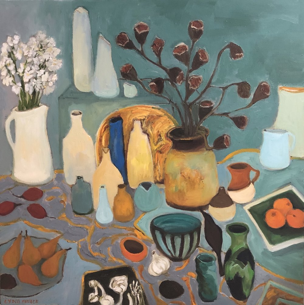 Lydia Miller Still-Life with pears 2019 oil on canvas 100x100cm COMING UP in March 2019 exhibition at Newcastle Art Space