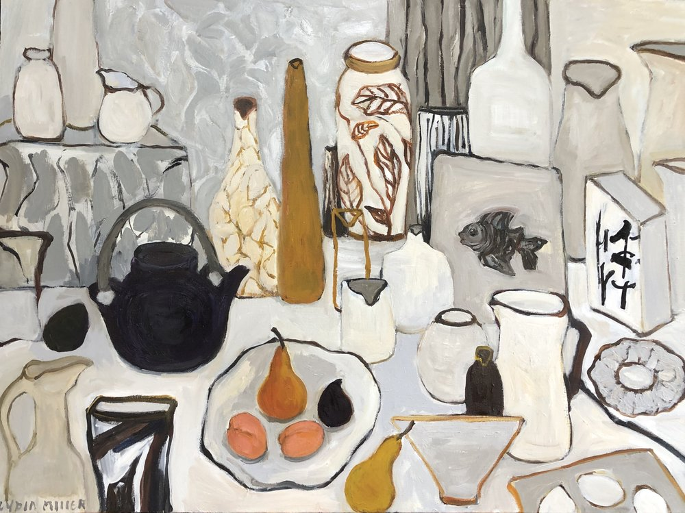 Lydia Miller, Still-Life with black teapot, 2019, oil on canvas, 60 x 80cm $900.00  AVAILABLE contact info@gallery139.com.au