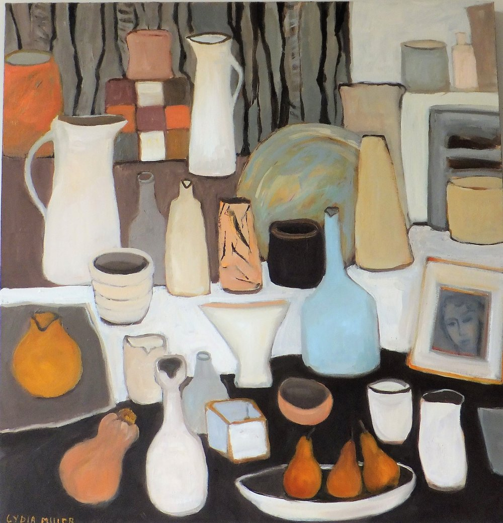 Lydia Miller, Still-Life with two white jugs, 2018, oil on canvas, 76 x 76cm $920.00