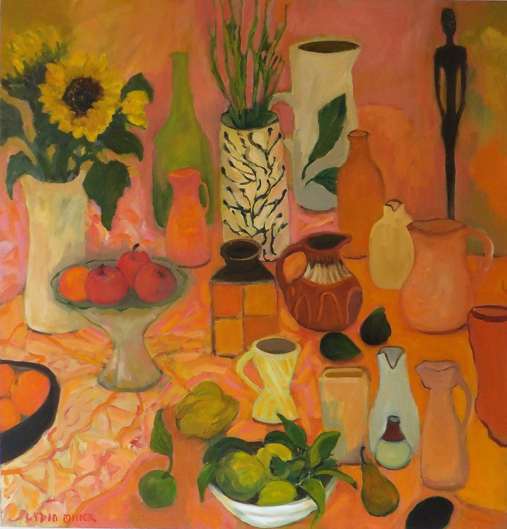 Lydia Miller, Still-Life with sunflowers, 2018 oil on canvas, 76 x 76cm $920.00