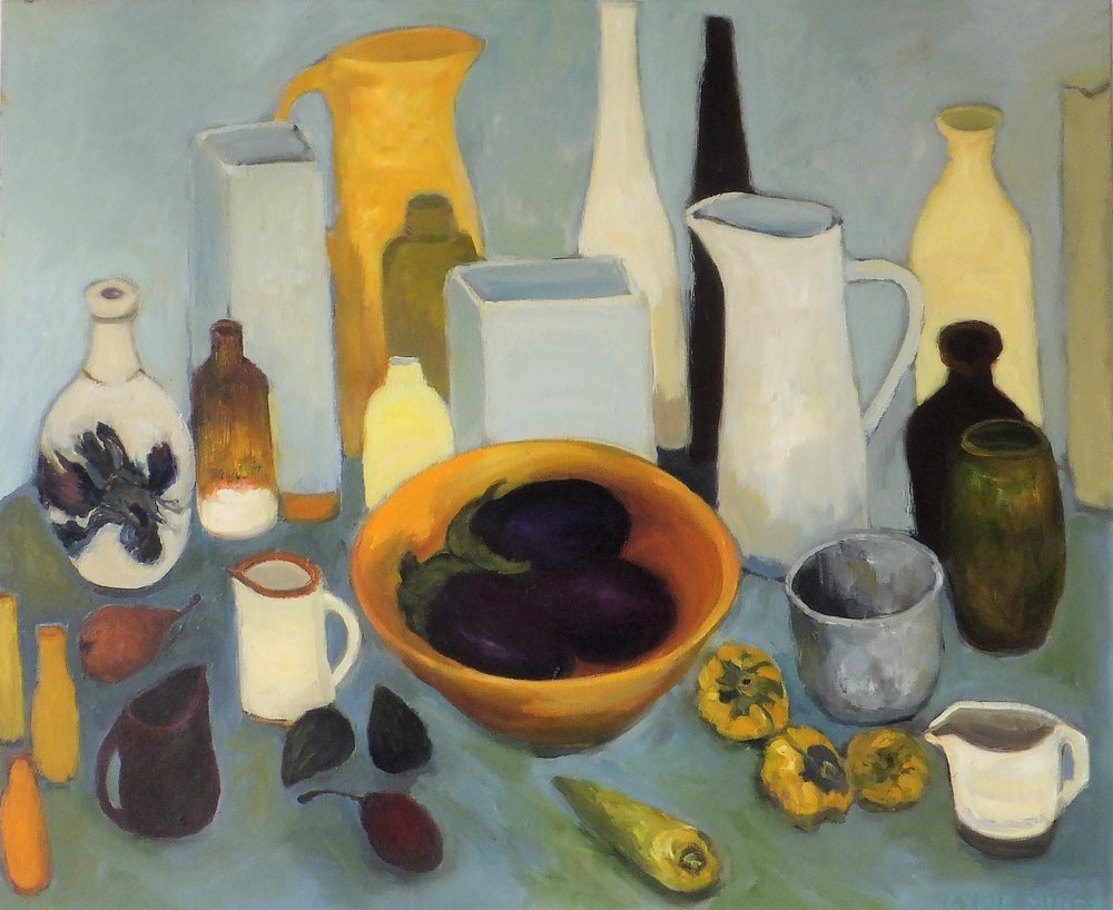 Lydia Miller, Still-Life with aubergines, 2018 oil on canvas, 61 x 76cm $850.00