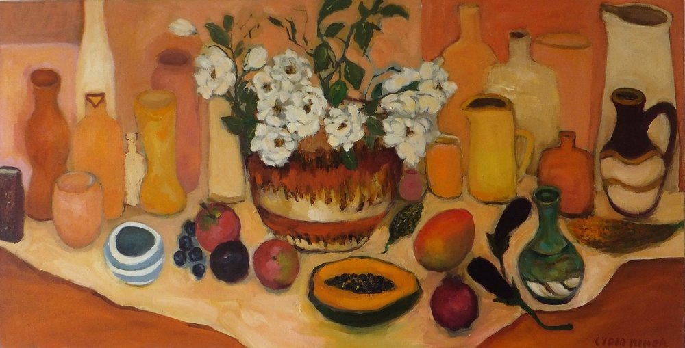 Lydia Miller, Still-Life with papaya, 2018 oil on canvas, 46 x 91cm $920.00