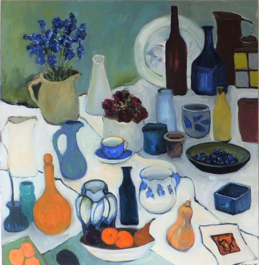 Lydia Miller, Still-Life with blue cup, 2018 oil on canvas, 76 x 76cm $920.00