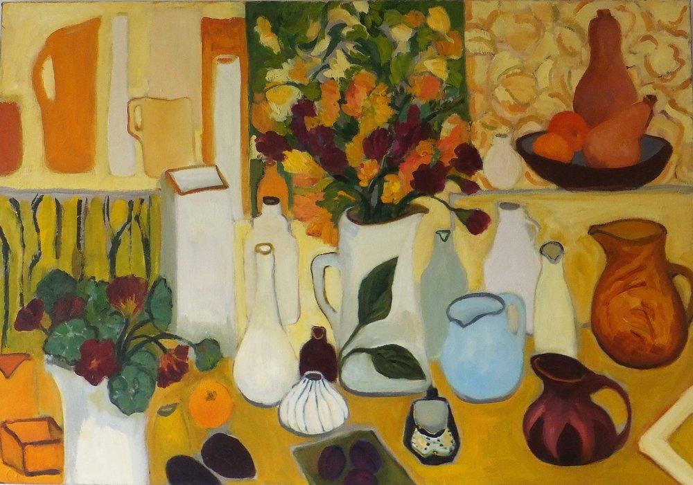 Lydia Miller, Still-Life with nasturtiums, 2018 oil on canvas, 63 x 91cm $1200.00