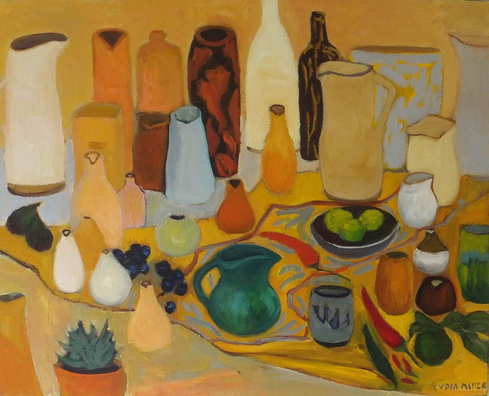 Lydia Miller, Still-Life with green jug, 2018 oil on canvas, 62 x 76cm $850.00