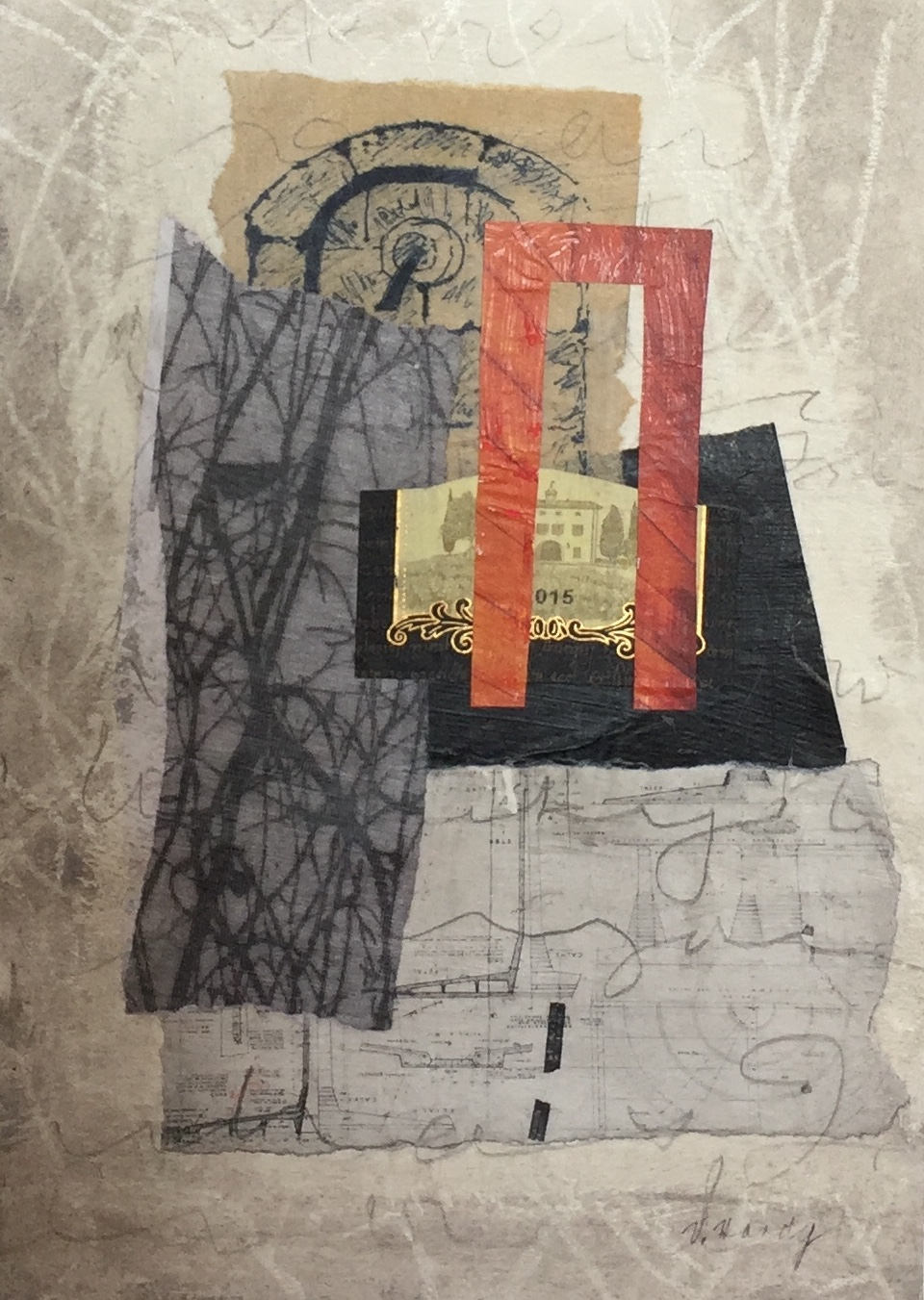 Varelle Hardy  Where the Pilgrims stayed  2018 collage on paper 28 x 35cm frame