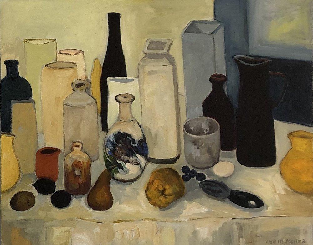 Lydia Miller Still-Life with vase 2018 oil on canvas 62 x 76cm $850.00