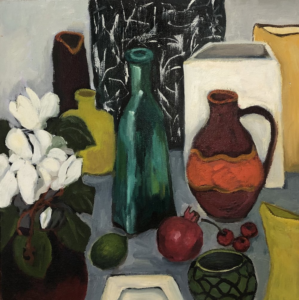 Lydia Miller Still life with green bottle 2018 oil on canvas 40 x 40cm $450.00