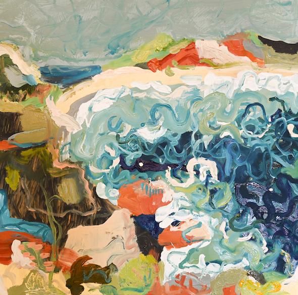 Michelle Teear  Timber Beach  2019 oil on plywood 60 x 60cm