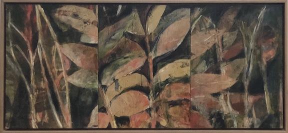 Helene Leane  Red Forest (cedar)  2019 mixed media 33 x 71cm frame