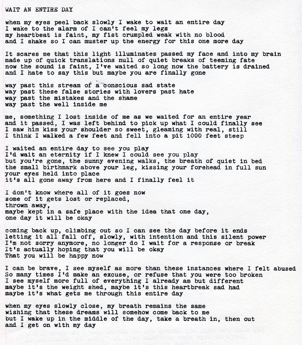 "An original poem by Tony Hoang titled, ""Wait an entire day"" This is about my grieving process, losing someone that was so dear to me, and realizing that everyday is a struggle to stay awake, but I know that's what I want, I want to be awake. I know I want to heal fully in my own way, in my own time. I will be okay."