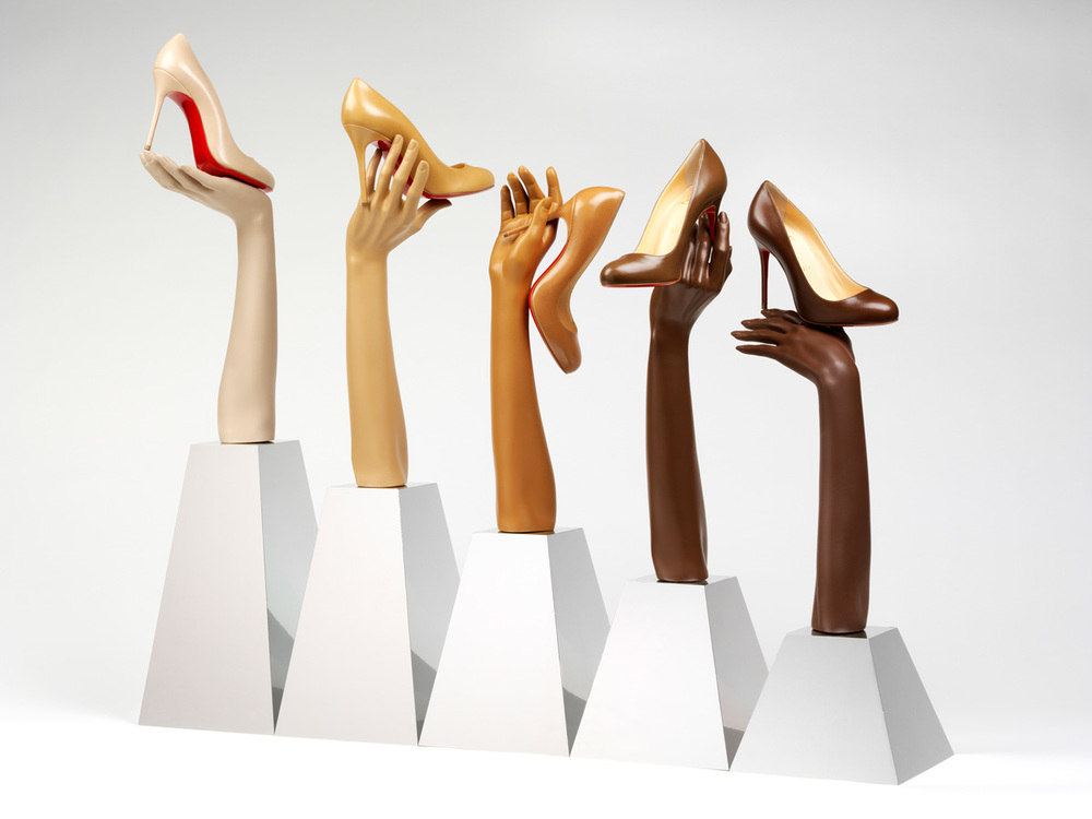 'Fifi' pump in five nude shades, Christian Louboutin, 2013. Photo: Victoria and Albert Museum, London.