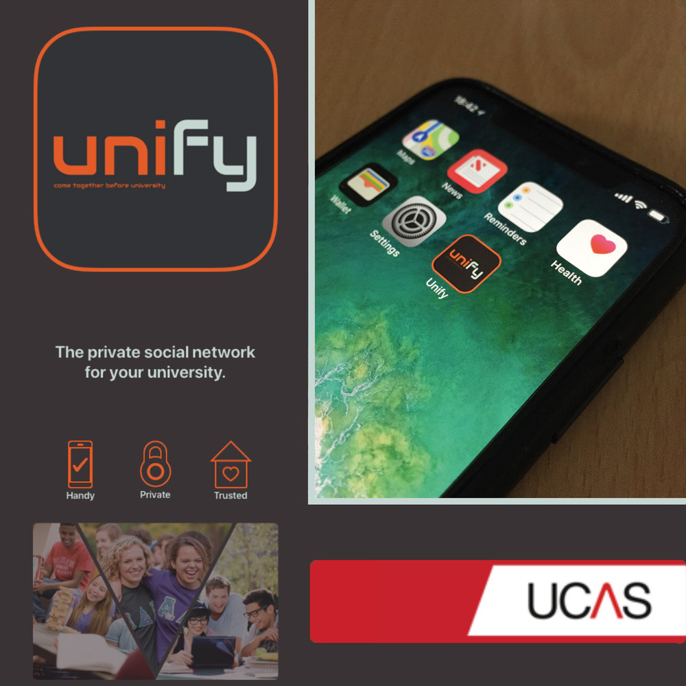 Unify is a modern application used to connect first years at university before they start. It creates an easy to use platform for you and your new neighbours or course mates to connect, making the start of university less stressful!    This application was created to alleviate the stress of who you will live with and how to make friends - one of the most important worries before students start university! The aim is to bring students together before university, making it easier to make friends and communicate with your cohort and halls of residence residents.    After rigorous user testing and interface prototyping, the application is minimal yet striking. Simple and easy to use, Unify believes all universities will use their platform to create an easier and more comfortable introduction to university life.    Fences are sometimes necessary, but online privacy is    always    necessary. Unify makes it safe to share online, following all privacy laws. Everyone has to verify themselves, all passwords are protected and encrypted, and no information will ever be shared.