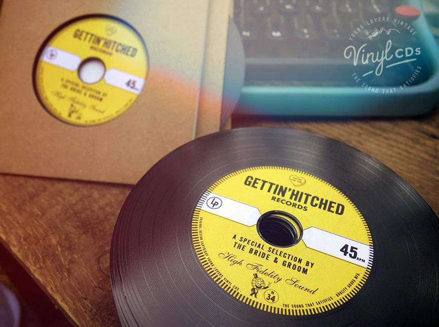 GOLD Vintage Vinyl CD Wedding Favor Invite Unique wedding favour