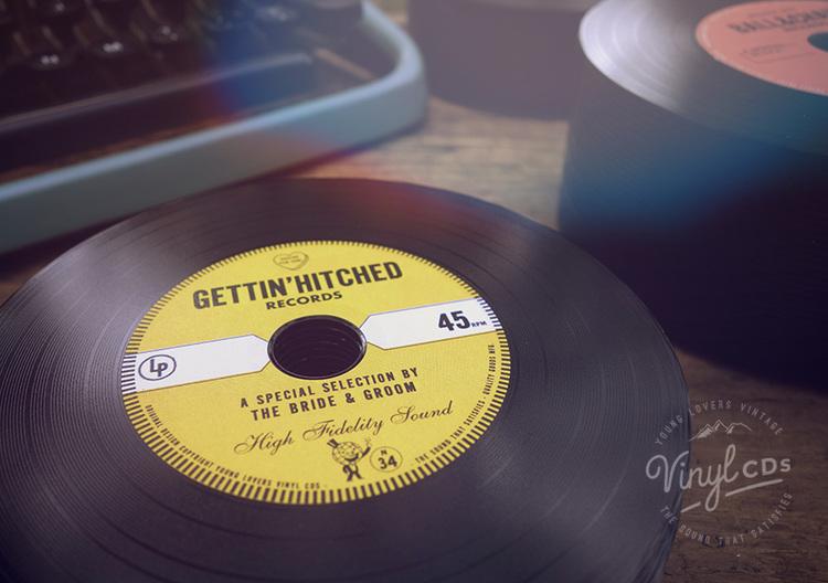 GOLD Vintage Vinyl CD Wedding Favor Invite