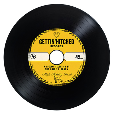 Gold Vintage Vinyl Cd Wedding Favor Invite Unique