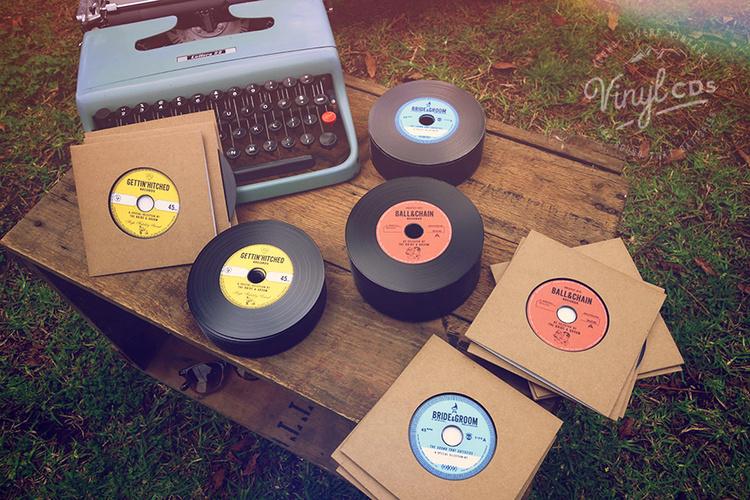 COMBO Vintage Vinyl CD Wedding Favor / Invite — Unique wedding ...