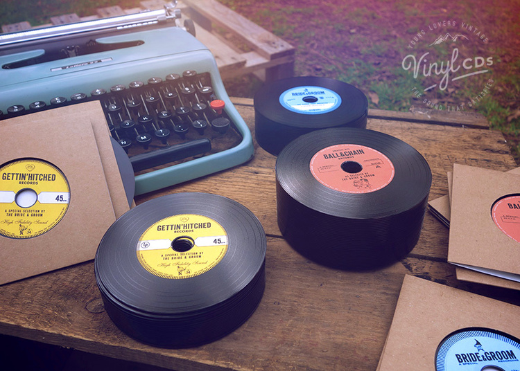 Combo Vintage Vinyl Cd Wedding Favor Invite Unique Wedding