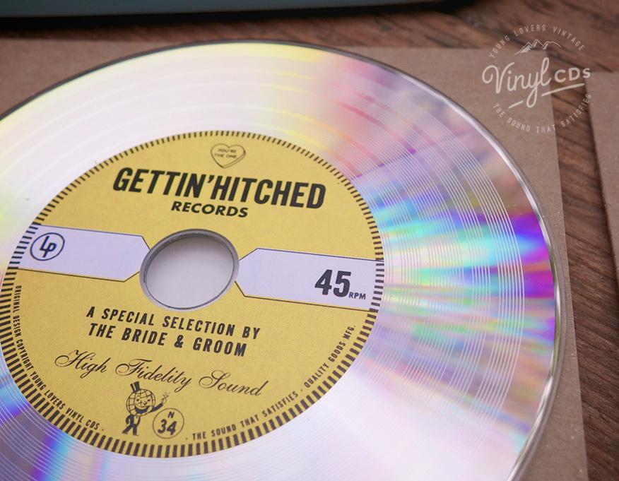GOLD Platinum Vinyl CD Wedding Favor Invite Unique wedding