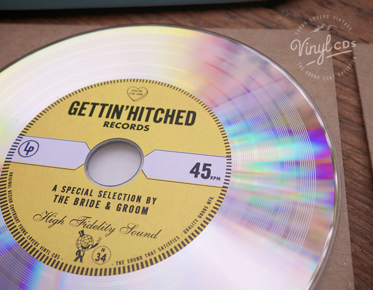 Gold Platinum Vinyl Cd Wedding Favor Invite Unique Wedding