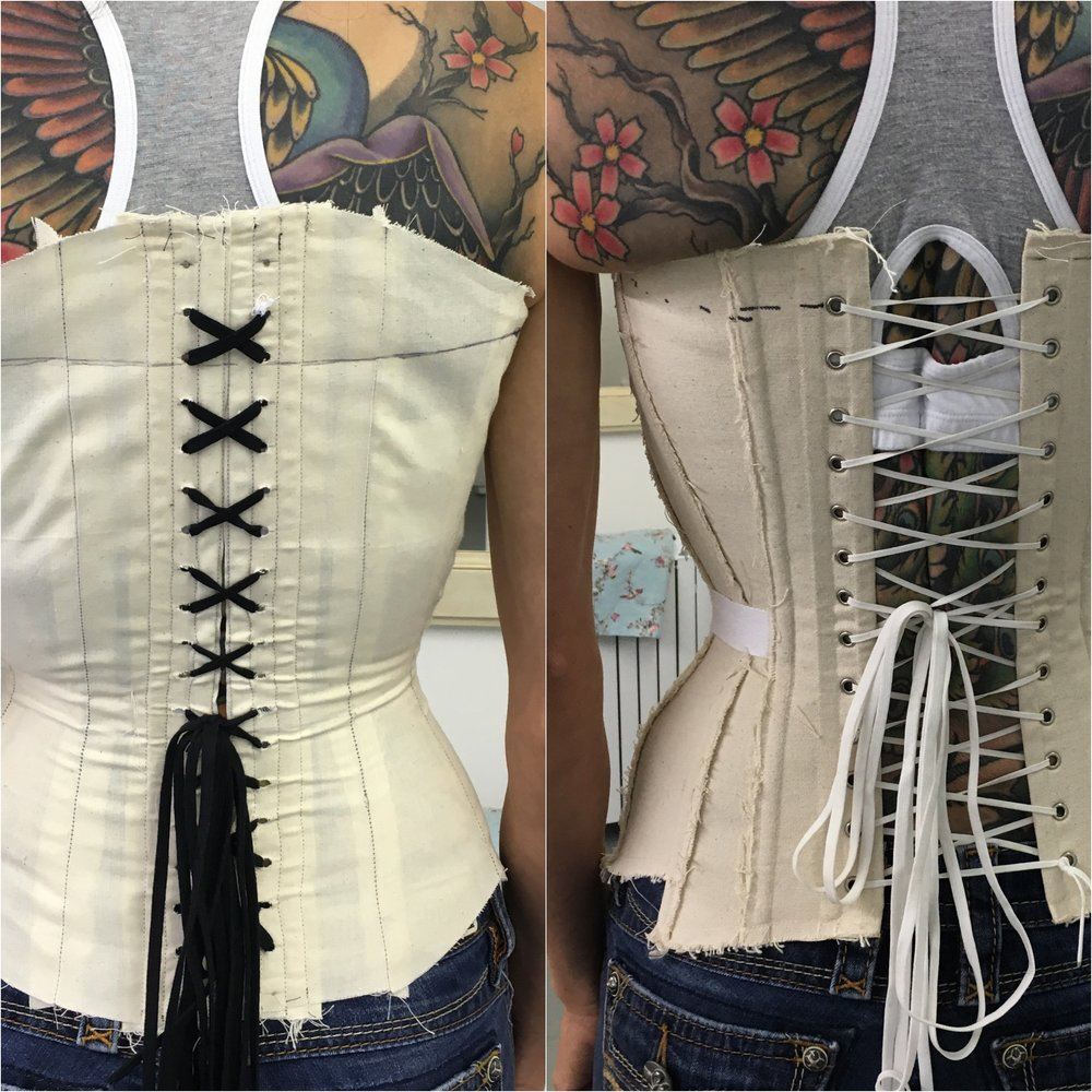 "Both of these corset toiles have exactly the same measurements and both measure exactly 22"" at the waist.  The one on the right was from another maker's method.  'My' method is on the left - the toile needs a few tweaks to tighten up the torso, but this image clearly illustrates that all corsets are not created equal.  I might add that the left toile is also more comfortable."