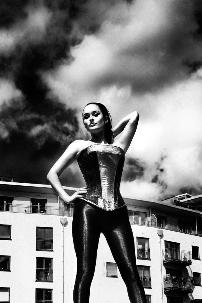 Leather monochrome corset