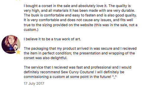 testimonial from happy customer who purchased the grey corset above, from the last sample sale in 2016