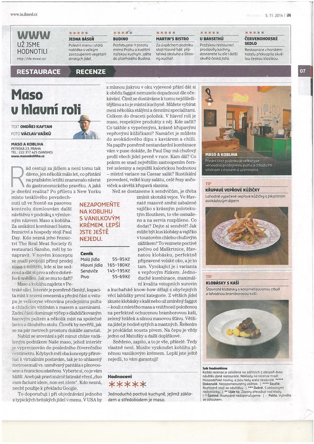 Maso v hlavní roli, IN magazín HN, 2014.jpg