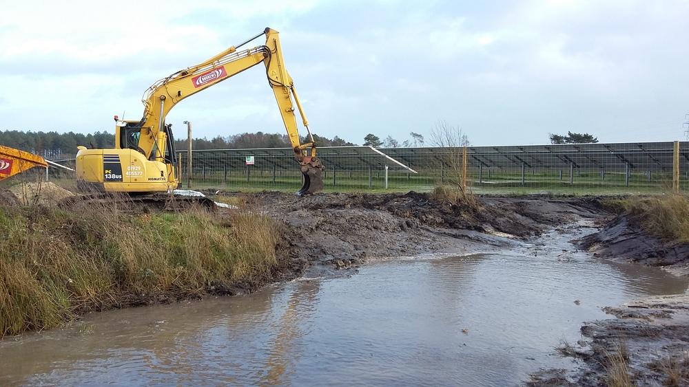 Pond excavation on a solar site