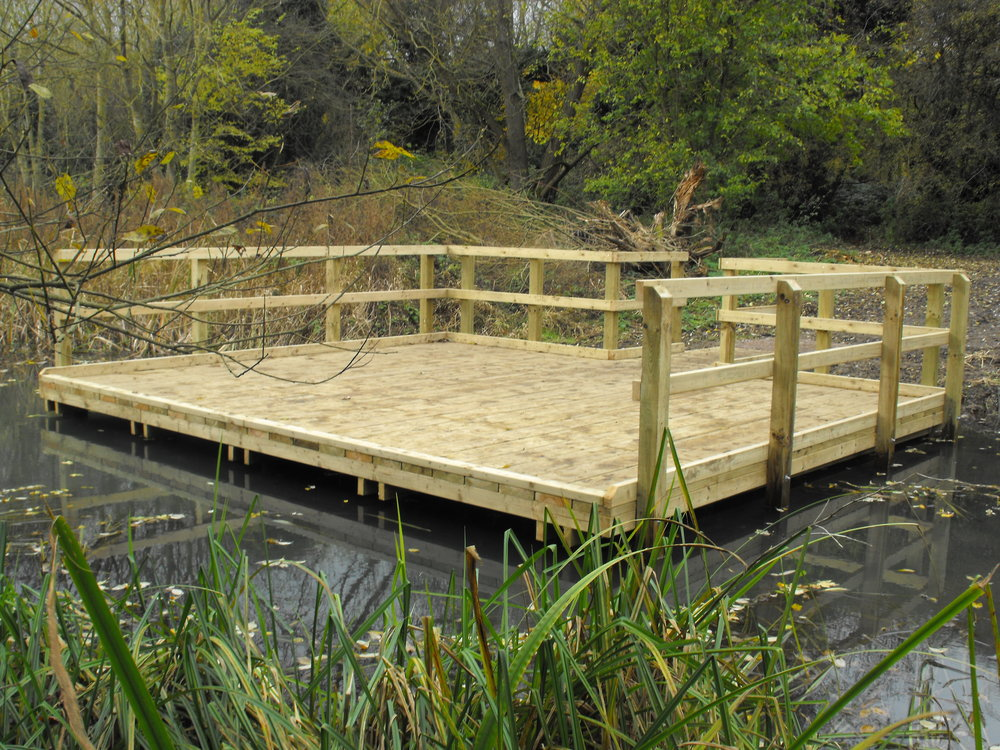 Open-fronted pond dipping platform