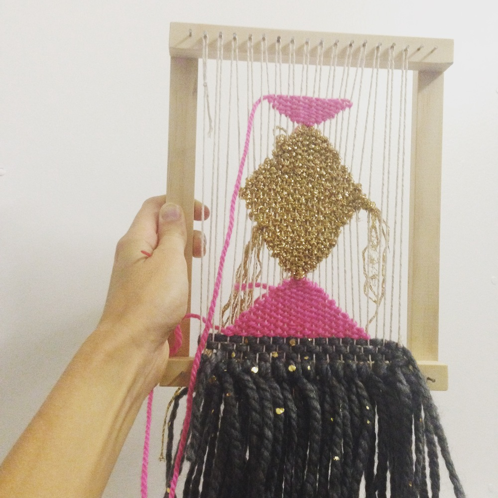 Pink Gold and Charcoal Woven Wall Hanging