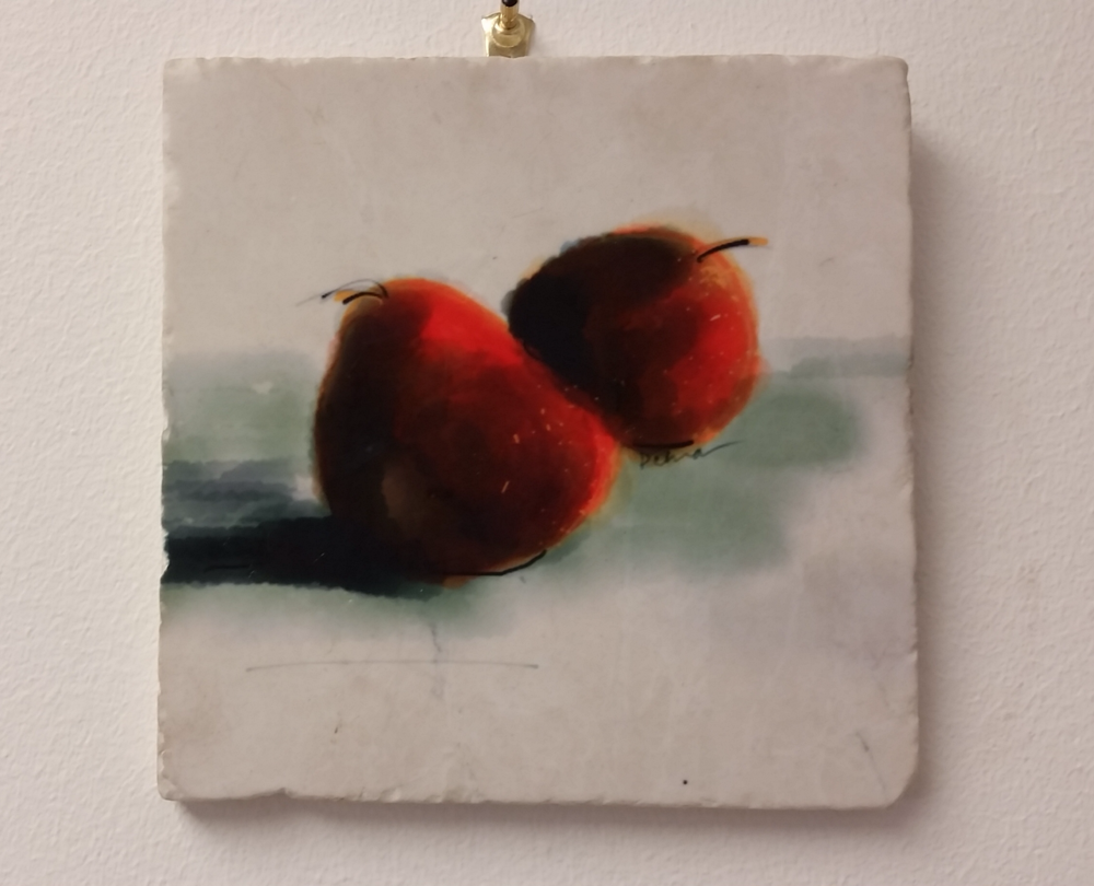 """Two Red Pears"": digital painting printed on tumbled marble"