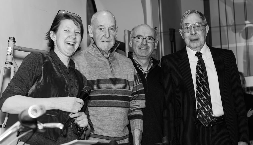 Carrying the torch - Liz with framebuilders past and present (Wes Mason, Tony Revell and Trevor Jarvis).