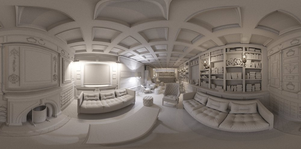 Fish-eye clay render of Bar area for Virtual reality tests