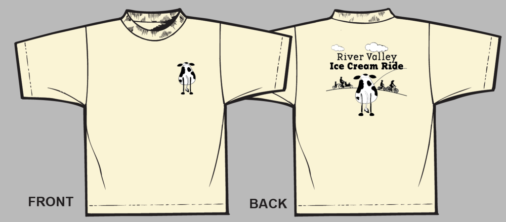 Celebrate ice cream, biking and local foods with a River Valley Ice Cream Ride T-shirt.  They come in Strawberry or Vanilla.  Order on our River's Edge Gear page.