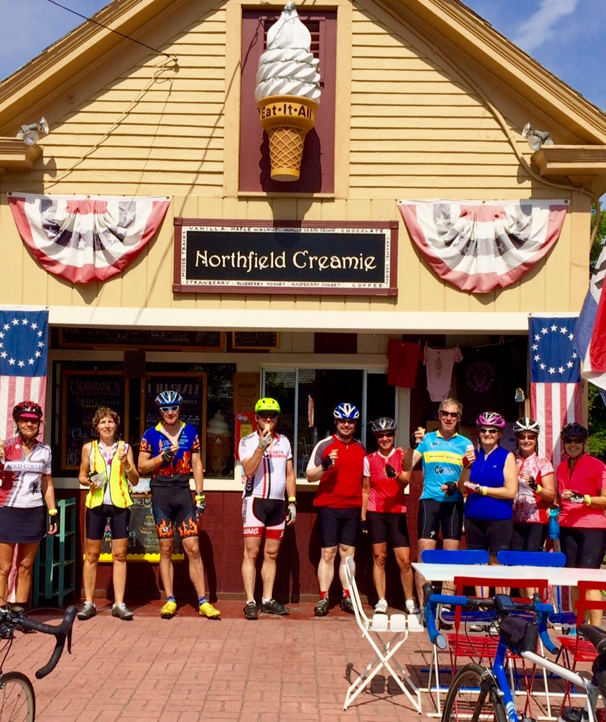 Several riders stop by Northfield Creamie for their first ice cream stop of the day.