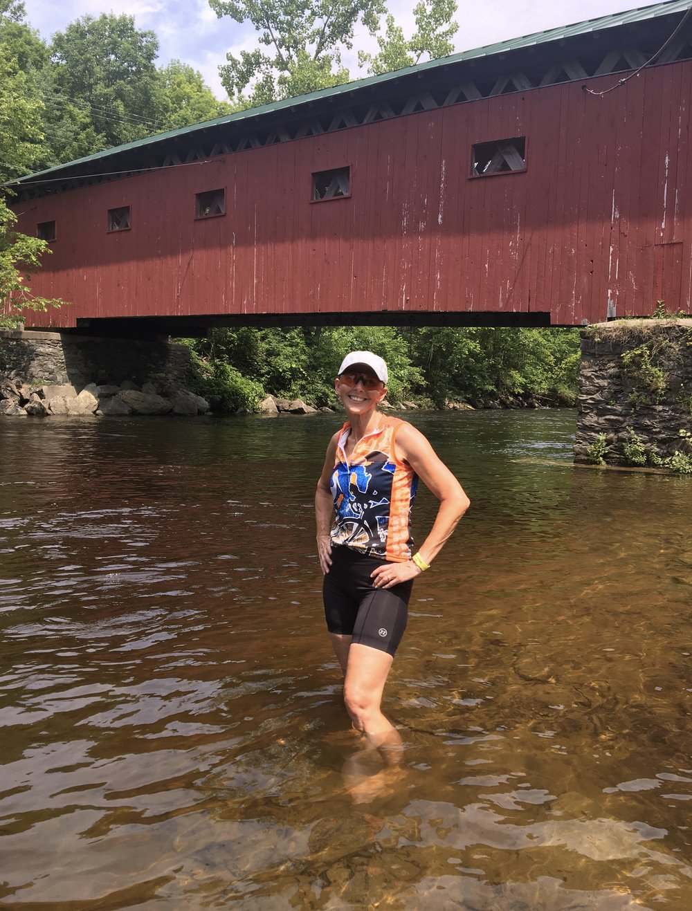 Cooling off in the Battenkill River alongside the Arlington Green Covered Bridge