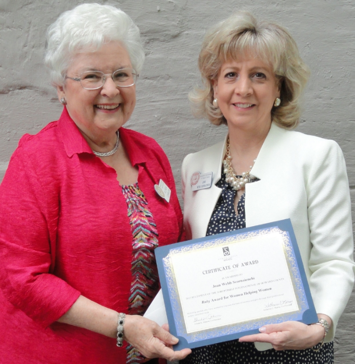 Pictured above: Glenda Johnson, Co-President, SIHC, and Joan Webb Scornaienchi