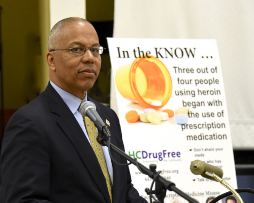 Photo provided by Governor's Photo Gallery. Lt. Boyd Rutherford complimenting HC DrugFree's In the KNOW campaign.
