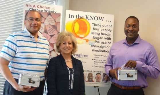 Pictured left to right are The Honorable William V. Tucker, HC DrugFree's Executive Director Joan Webb Scornaienchi and Howard County Council Chair Dr. Calvin Ball