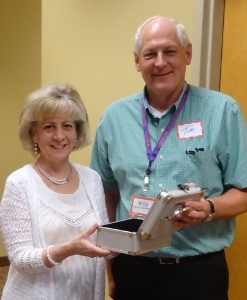 Pictured HC DrugFree's Executive Director Joan Webb Scornaienchi with Grace Community Church Pastor Tim Siemens