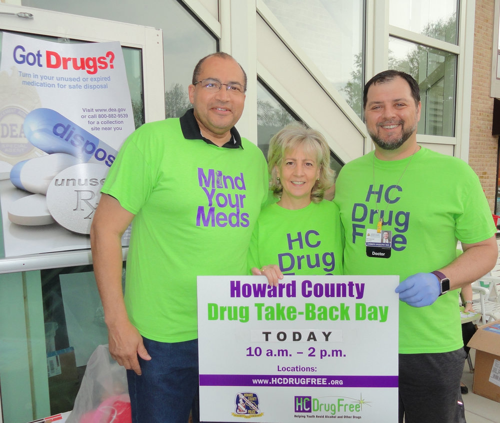Pictured above: HC DrugFree's Board Emeritus, Judge William V. Tucker; HC DrugFree's Executive Director, Joan Webb Scornaienchi; HC DrugFree's Board Member and Director of Psychiatry at Howard County General Hospital - a Member of Johns Hopkins Medicine, Dr. Andy Angelino.
