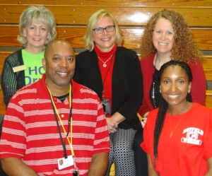 (Top left) HC DrugFree's Joan Webb Scornaienchi was pleased to join MWMS staff (front left to right) Mr. Murray and Ms. Stevens, (back row center to right)  Mrs. Bonavitacola and Mrs. Shindel