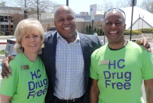 HC DrugFree's Joan Webb Scornaienchi, Howard County Public School System's James LeMon and Wilde Lake Village Board Chair Kevin McAliley.