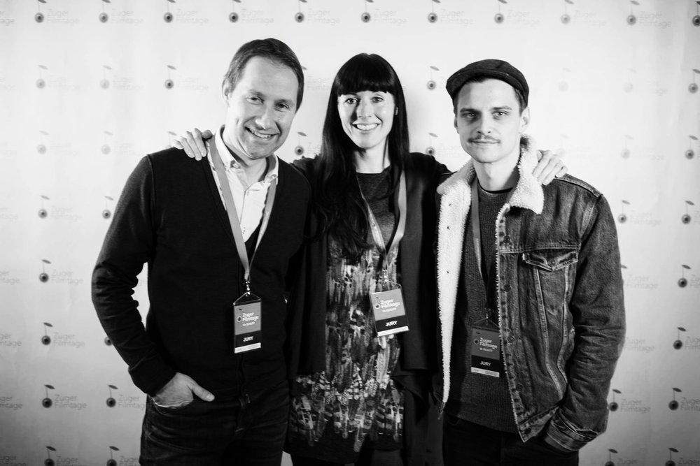 "v.l.n.r Lukas Hobi (Produzent von u.a ""Achtung, Fertig Charlie"", ""Die göttliche Ordnung"", ""Heidi"") ; Rebecca Panian (Filmemacherin) ; Julian Koechlin (Schauspieler)"