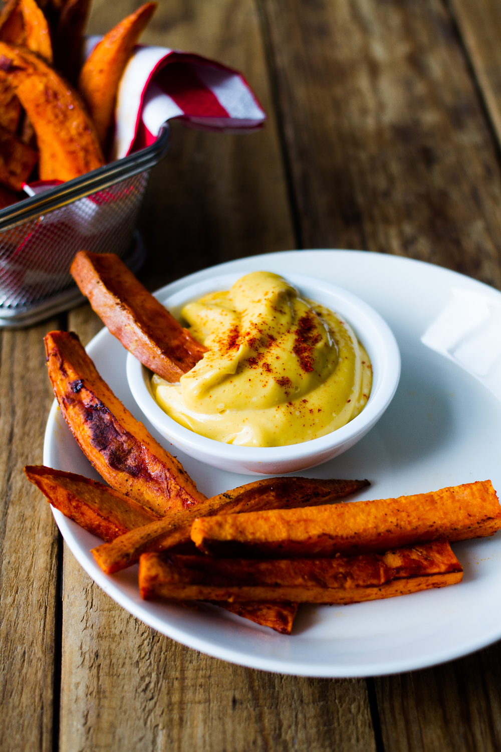 roasted sweet potatoe wedges with sea buckthorn camelina mayo